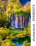 autumn colors and waterfalls of ... | Shutterstock . vector #505083373