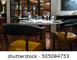 empty glasses set in restaurant  | Shutterstock . vector #505084753