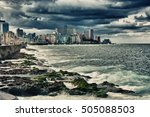 view of havana malecon and city ... | Shutterstock . vector #505088503