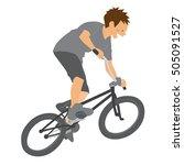 boy jumping with bmx bike vector | Shutterstock .eps vector #505091527