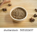 coriander seeds in wooden bowl  ... | Shutterstock . vector #505102657