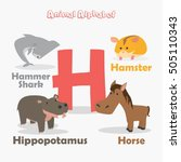 cute animal zoo alphabet.... | Shutterstock .eps vector #505110343