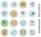 set of project management icons ... | Shutterstock .eps vector #505123513
