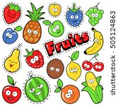 funny fruits emoticons badges ... | Shutterstock .eps vector #505124863