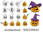 halloween pumpkins monochrome... | Shutterstock . vector #505139623