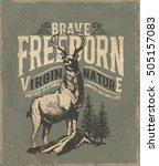 Deer. Wild deer. Vintage illustration typography t-shirt printing.  | Shutterstock vector #505157083