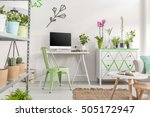 bright room with home office... | Shutterstock . vector #505172947