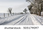 snowy country lane in cumbria ... | Shutterstock . vector #505179097