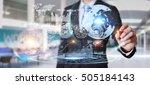 businessman moving digital... | Shutterstock . vector #505184143