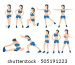 sport women set. a character in ... | Shutterstock .eps vector #505191223
