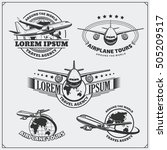 airplane travel labels  emblems ... | Shutterstock .eps vector #505209517