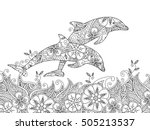 coloring page with pair of... | Shutterstock .eps vector #505213537