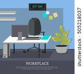 workplace conceptual vector web ... | Shutterstock .eps vector #505218037