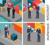 set of dock workers at...   Shutterstock .eps vector #505225657
