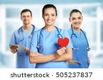 young female doctor with red... | Shutterstock . vector #505237837
