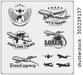 airplane travel labels  emblems ... | Shutterstock .eps vector #505239157