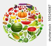 healthy lifestyle fruit and... | Shutterstock .eps vector #505240087