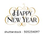 happy new year. handwritten... | Shutterstock .eps vector #505254097