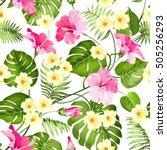 seamless tropical flower....   Shutterstock .eps vector #505256293