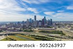 Small photo of Panoramic aerial view Downtown with Interstate 10, 45 and Gulf freeway intersection. Massive highway, stack interchange, viaduct and elevated road junction overpass from Northeast Houston, Texas, USA.