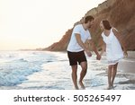 lovely couple on tropical beach | Shutterstock . vector #505265497
