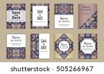 save the date. set of cards... | Shutterstock .eps vector #505266967