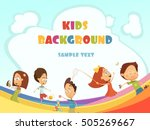 playing kids cartoon background ... | Shutterstock .eps vector #505269667