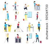 cleaning people flat colored... | Shutterstock .eps vector #505269733