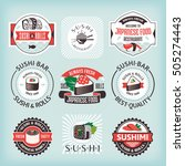 set 4 of various sushi labels... | Shutterstock .eps vector #505274443