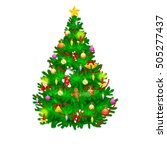 holiday christmas tree isolated ... | Shutterstock .eps vector #505277437