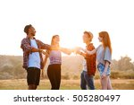 multiethnic group of cheerful... | Shutterstock . vector #505280497