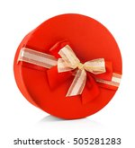 red round gift box isolated on...   Shutterstock . vector #505281283