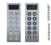 steel elevator buttons panel... | Shutterstock .eps vector #505293487
