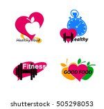 wellness symbols. healthy food... | Shutterstock .eps vector #505298053