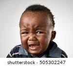 crying upset black african baby ... | Shutterstock . vector #505302247