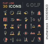 set line icons game golf and ... | Shutterstock . vector #505305823