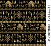 warli painting seamless pattern ... | Shutterstock .eps vector #505311757