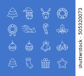 christmas icon set. thin line... | Shutterstock .eps vector #505320073