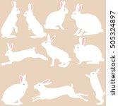rabbit silhouettes on the white ... | Shutterstock .eps vector #505324897