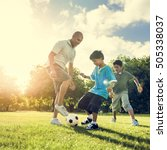 soccer football field father... | Shutterstock . vector #505338037