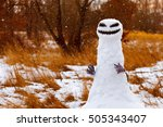 scary snowman as a monster on a ... | Shutterstock . vector #505343407