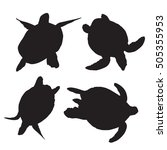 turtle silhouettes on the white ... | Shutterstock .eps vector #505355953
