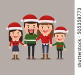 happy family at christmas.... | Shutterstock .eps vector #505358773