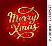 merry christmas lettering card | Shutterstock .eps vector #505359397