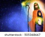 christmas religious nativity... | Shutterstock . vector #505368667