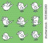 set of funny doodle birds   Shutterstock .eps vector #505380283
