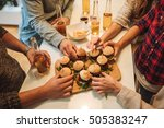 group of friends grabbing some... | Shutterstock . vector #505383247