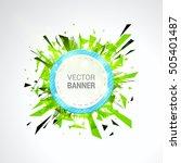 white origami paper banner... | Shutterstock .eps vector #505401487