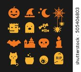 set of  halloween icon with one ... | Shutterstock .eps vector #505406803