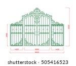 door gate  vector iron work... | Shutterstock .eps vector #505416523